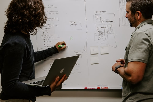 Two people working on white board notes for their 501c6 nonprofit business