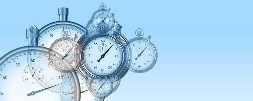 Clocks floating against a blue background to symbolize nonprofit project management